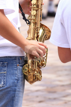 Saxophone stock photo, A tooter on concerto the saxophone an also important instrument by ARPAD RADOCZY