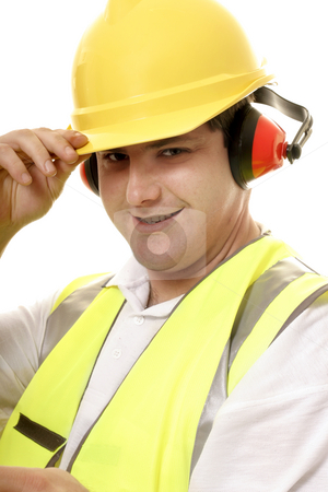 Friendly tradesmen tipping his hat stock photo, Friendly tradesmen tips his hat by Leah-Anne Thompson