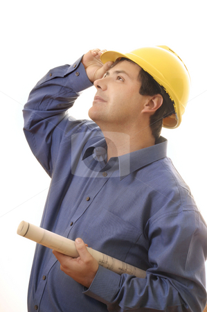 Copnstruction worker builder looking up stock photo, A construction worker, builder, project manager with plans rolled up looks skyward, by Leah-Anne Thompson