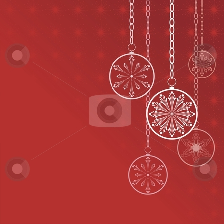 Merry christmas stock vector clipart, Christmas flakes on a red background, card, vector by Čerešňák
