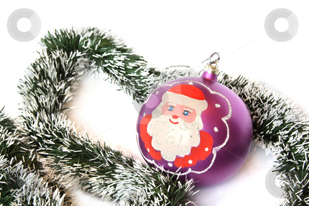 Christmas ball with Santa Claus stock photo, Christmas ball with Santa Claus and tinsel. Isolated on white by Olga Lipatova