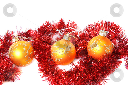 Christmas balls and a tinsel stock photo, Golden Christmas balls and red tinsel. Isolated on white by Olga Lipatova