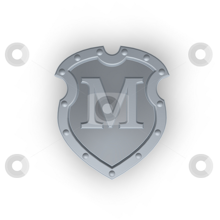 Shield with letter M stock photo, Metal shield with letter M on white background - 3d illustration by J?