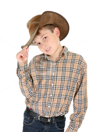 Country style stock photo, Child wearing a check shirt, belted denim jeans and a well worn leather cowboy hat. by Leah-Anne Thompson