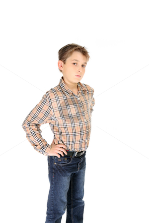 Child hands on hips stock photo, Child standing with hands resting on hips by Leah-Anne Thompson