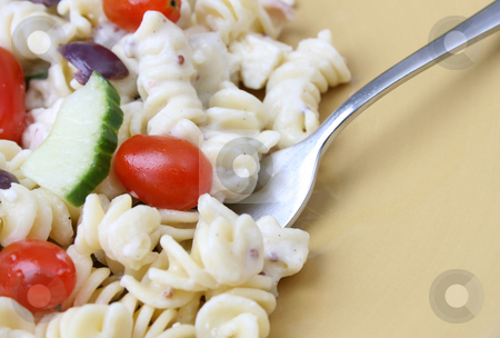 Pasta Salad Close Up stock photo, Cold Pasta Salad with tomatoes, cucumbers and olives by Vanessa Van Rensburg