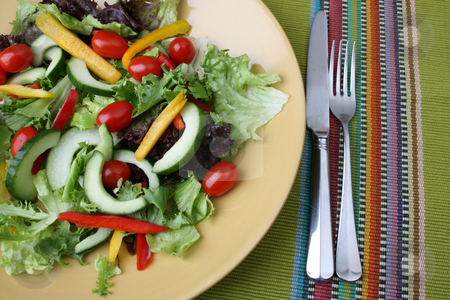 Salad stock photo, Fresh colorful salad with cherrie tamatoes and cucumber by Vanessa Van Rensburg