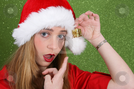 This present is too small stock photo, Teenager with red lips wearing a christmas hat by Vanessa Van Rensburg