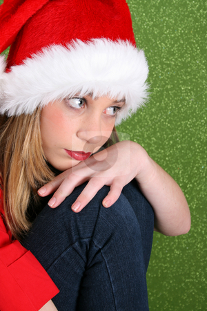 Christmas Thoughts stock photo, Christmas teen in deep thought, looking into the distance by Vanessa Van Rensburg