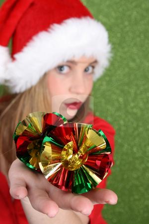 Christmas Teen stock photo, Christmas teen holding decorations.  FOCUS on decorations. by Vanessa Van Rensburg