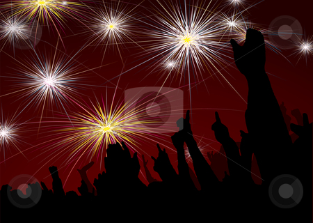 New year crowd fireworks stock vector clipart, Crowd scene with fireworks display for new year by Michael Travers