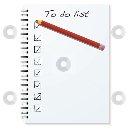 To do binder stock vector clipart, White paper writing pad with metal ring binder and to do list by Michael Travers