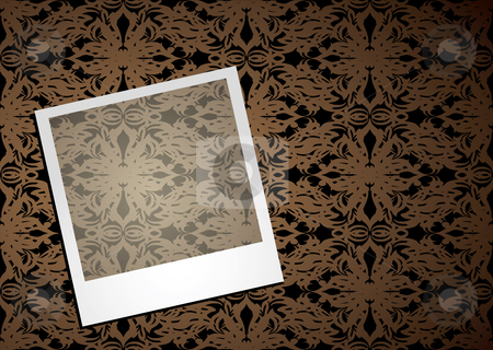 Wallpaper photo stock vector clipart, Instant photo with wallpaper design and shadow background by Michael Travers