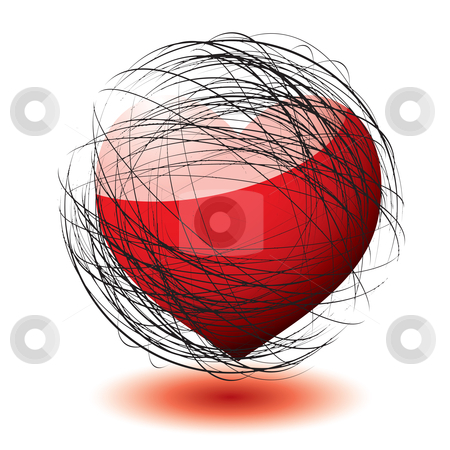 Scribble love stock vector clipart, Abstract love heart concept with scribble ball and shadow by Michael Travers