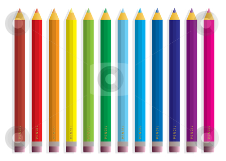 Rainbow pencil stock vector clipart, Collection of brightly colored pencils with shadow and eraser by Michael Travers