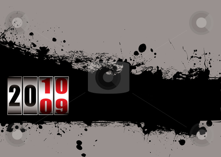 Grunge new year dial stock vector clipart, Abstract ink splat background with 2010 new year dial by Michael Travers