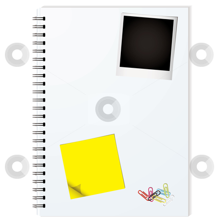 Elements binder stock vector clipart, Business writing pad with instant photograph and paper clips by Michael Travers