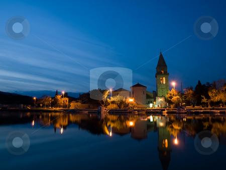 Small mediterranean town stock photo, Small mediterranean old town Osor in the sunset, Croatia Adriatic sea by Vladimir Koletic