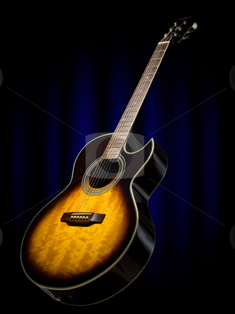 Acoustic guitar on the stage stock photo, Acoustic guitar with the blue stage curtain in the background by Vladimir Koletic