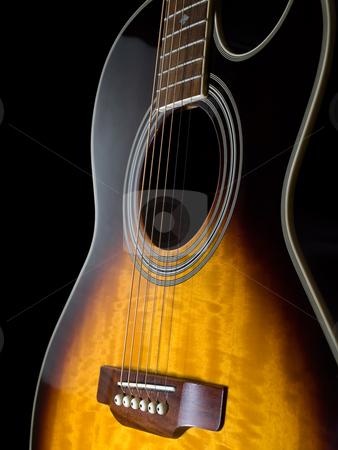 Acoustic guitar  stock photo, Acoustic guitar against black background, closeup shot by Vladimir Koletic