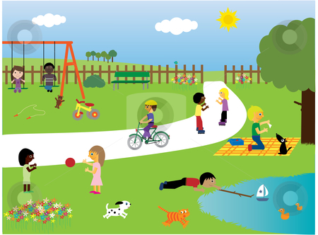 Children playing in the park stock vector clipart, Vector illustration of children of different races and their pets playing together in the park by Rachel Gordon