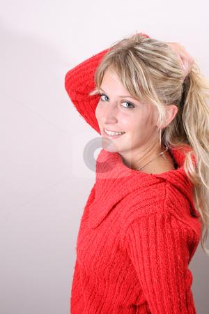 Hair Up stock photo, Blond Female model on a white background wearing a blue top by Vanessa Van Rensburg