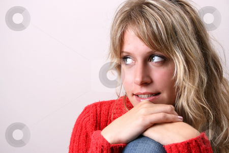 Sweetheart stock photo, Blond Female model on a white background wearing a red top by Vanessa Van Rensburg
