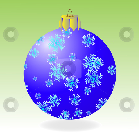Fur-tree ball stock vector clipart, Dark blue fur-tree ball with snowflakes on a green background by Liubov Nazarova