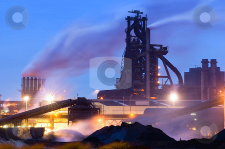Blast Furnace stock photo, Heavy industry at night with a blast furnace dominating the scene by Corepics VOF