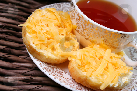 Tea and Scones stock photo, Early Moring Tea with scones and cheese by Vanessa Van Rensburg