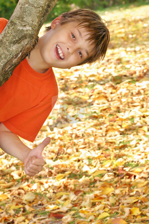Happy child plays in fall autumn leaves stock photo, A happy child hanging from a branch of a tree against a backdrop of fallen autumn leaves. by Leah-Anne Thompson