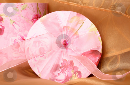 Gift Box stock photo, Pink Floral Gift box and lid with ribbon and gem stone by Vanessa Van Rensburg