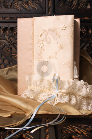 Bridal Garter stock photo, Cream Colored Jewellery box and bridal garter by Vanessa Van Rensburg