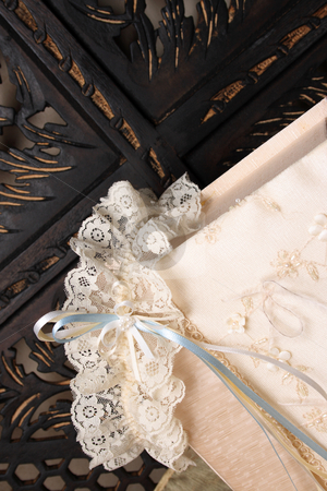 Box and Garter stock photo, Cream Colored Jewellery box and bridal garter by Vanessa Van Rensburg