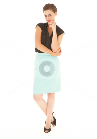 Adult Caucasian businesswoman stock photo, Young adult caucasian brunette businesswoman with red lips on a white background. Not Isolated by Sean Nel