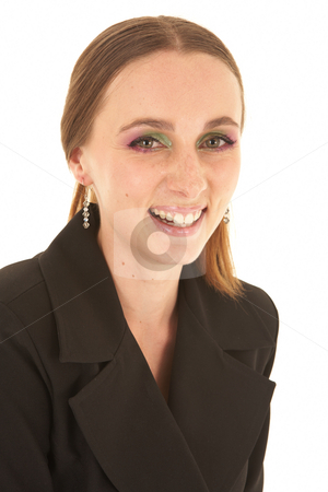 Young Caucasian businesswoman stock photo, Young adult caucasian businesswoman in a dark suit standing on a white background. NOT ISOLATED by Sean Nel