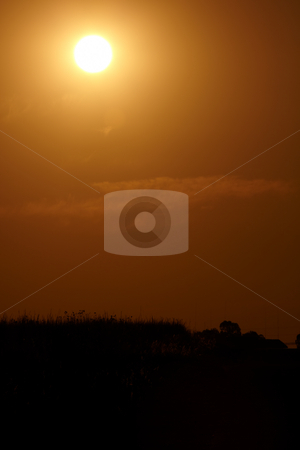 South African sunset stock photo, Sun setting over a dusty grass plain in South Africa by Sean Nel