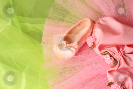 Small Ballerina Tutu stock photo, Pink Ballet costume and miniature shoe on a rustic background by Vanessa Van Rensburg