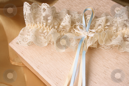 Cream Garter stock photo, Cream Colored Jewellery box and bridal garter by Vanessa Van Rensburg