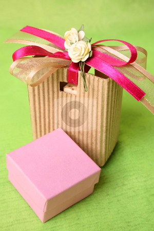 Pink Gift Box stock photo, Pink gift box and brown gift bag with ribbons by Vanessa Van Rensburg
