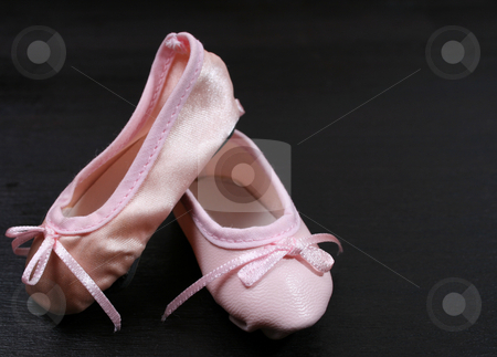 Ballet Shoes on black stock photo, One Leather and one satin ballet shoe by Vanessa Van Rensburg