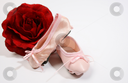 Ballet Shoes and Rose stock photo, One Leather and one satin ballet shoe with a rose by Vanessa Van Rensburg