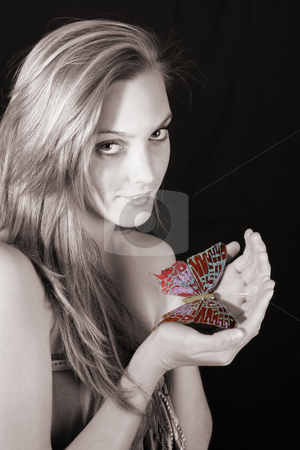 Female Model stock photo, Beautiful young female model with large butterfly by Vanessa Van Rensburg