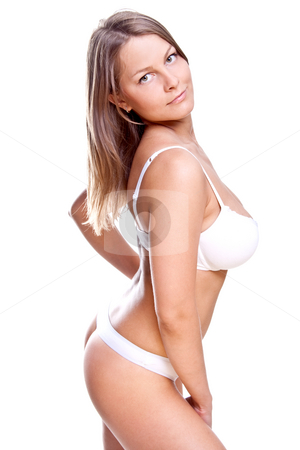 Beautiful woman in lingerie stock photo, Beautiful women posing in lingerie on a white background by Artem Zamula