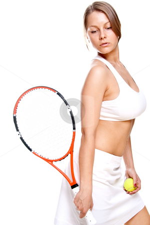 Beautiful girl with tennis racket stock photo, Beautiful girl with tennis racket on a white background by Artem Zamula