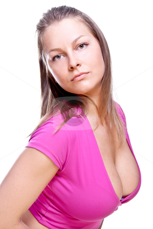 Beautiful women in a pink blouse stock photo, Beautiful women in a pink blouse on a white background isolated by Artem Zamula