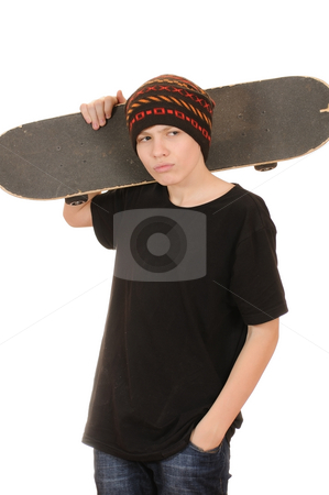 The teenager with a skateboard  stock photo, The teenager with a skateboard and in a hat isolated on white background by Salauyou Yury