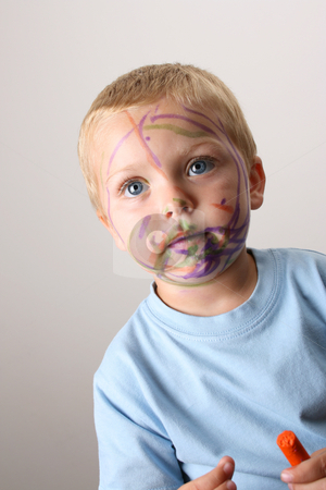Colorful stock photo, Laughing Toddler playing with colored pens making a mess by Vanessa Van Rensburg