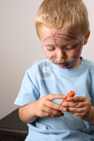 Messing About stock photo, Laughing Toddler playing with colored pens making a mess by Vanessa Van Rensburg