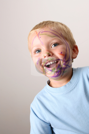 Life is Fun stock photo, Laughing Toddler playing with colored pens making a mess by Vanessa Van Rensburg